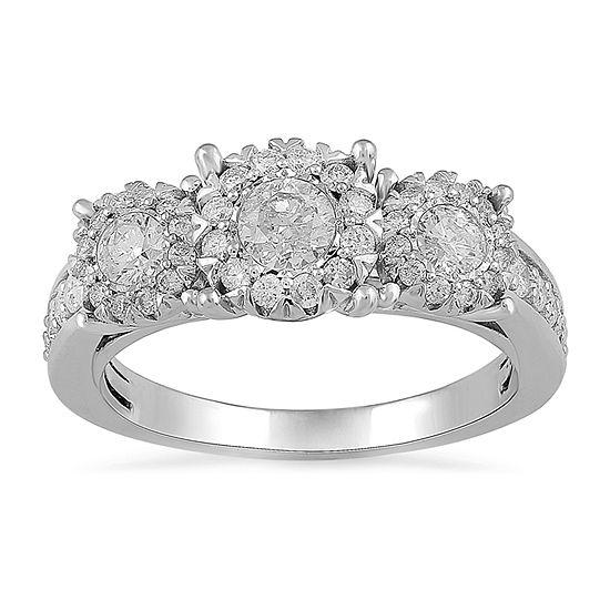 Womens 1 CT. T.W. Genuine White Diamond 14K White Gold 3-Stone Engagement Ring