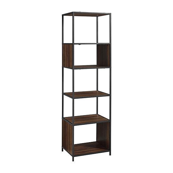 Modern Industrial 5-Shelf Tower Bookcase