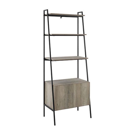 Walker Edison Industrial Wood Ladder Bookcase