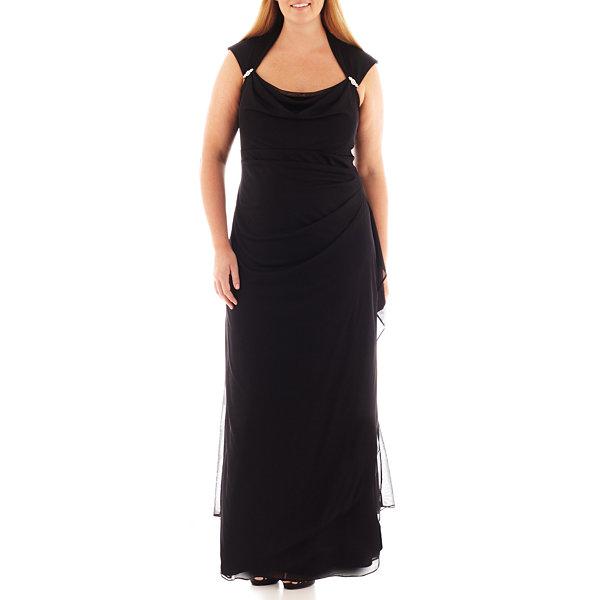 Scarlett Sleeveless Side-Drape Gown - Plus-JCPenney