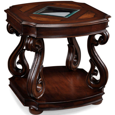 """Baroque 24"""" Square End Table with Glass Inlay"""