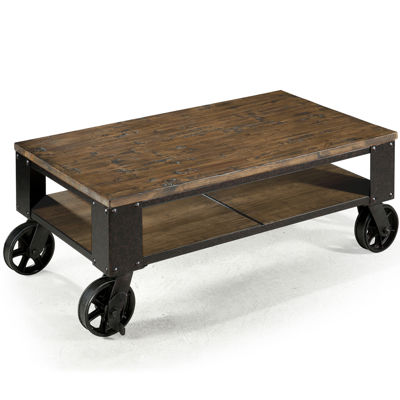 "Ironwood Distressed Pine Small 40"" Rectangular Coffee Table"