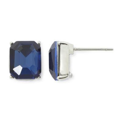 Monet® Blue Crystal Silver-Tone Stud Earrings