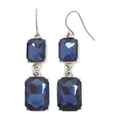 Monet® Blue Crystal Silver-Tone Double-Drop Earrings