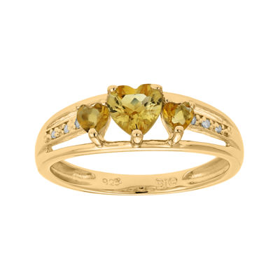 Genuine Citrine and Diamond-Accent 3-Stone Heart Ring