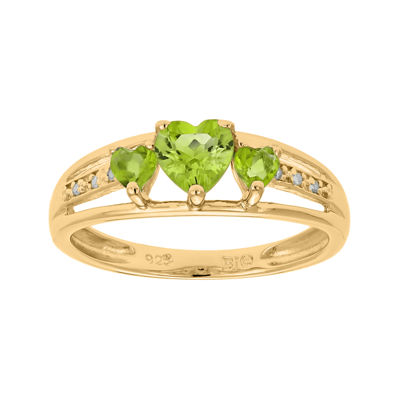 Genuine Peridot and Diamond-Accent 3-Stone Heart Ring