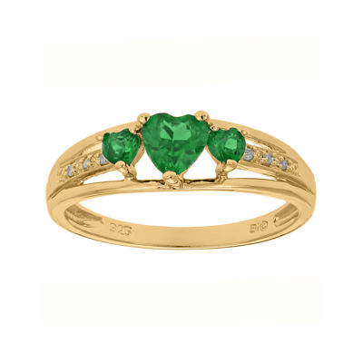 Lab-Created Emerald and Diamond-Accent 3-Stone Heart Ring