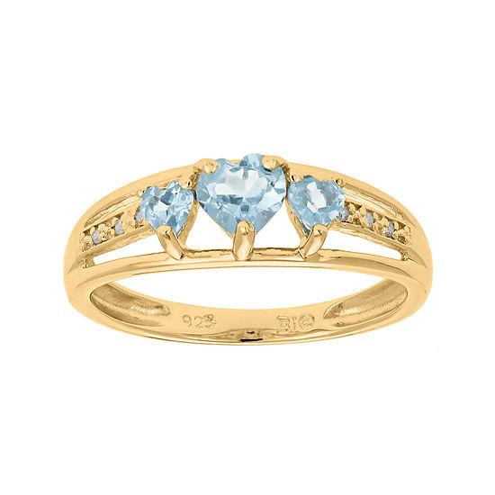 Simulated Aquamarine and Diamond-Accent 3-Stone Heart Ring