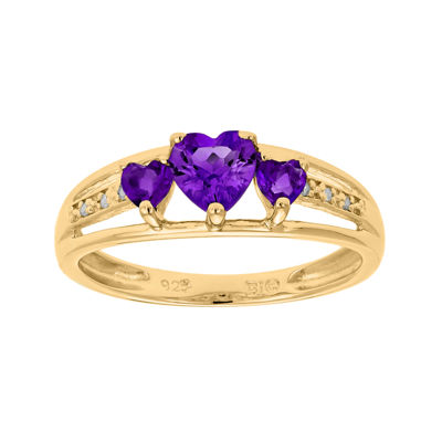 Genuine Amethyst and Diamond-Accent 3-Stone Heart Ring