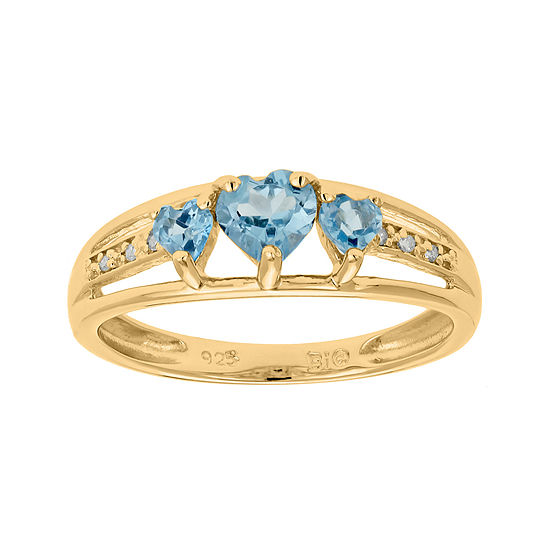 Genuine Blue Topaz And Diamond Accent 3 Stone Heart Ring