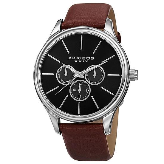 Akribos XXIV Mens Brown Leather Strap Watch-A-870br