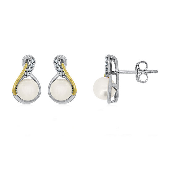 Freshwater Pearl & Diamond Accent 14K Yellow Gold over Silver Earrings