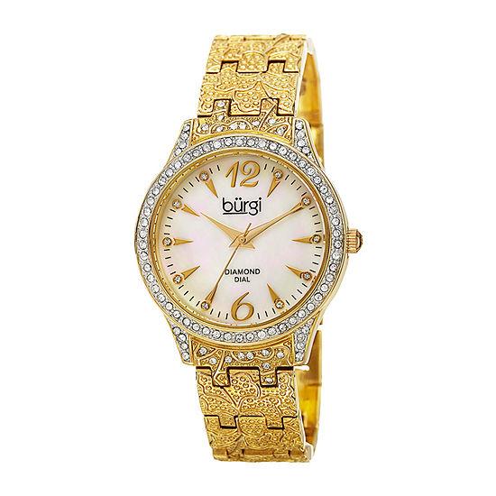 Burgi Womens Gold Tone Strap Watch-B-127yg