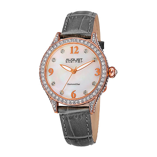 August Steiner Womens Gray Leather Strap Watch-As-8188gy