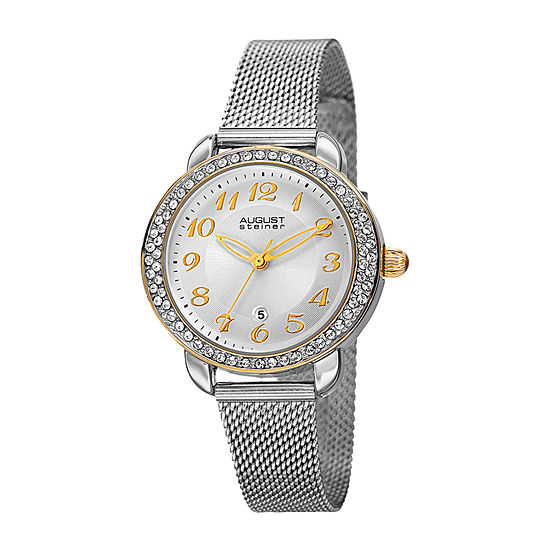 August Steiner Womens Silver Tone Bracelet Watch As 8192ssg