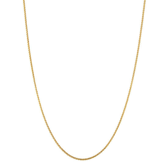 Made in Italy 10K Gold 24 Inch Solid Wheat Chain Necklace