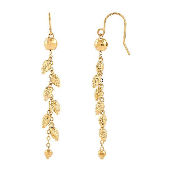 10K Gold Round Drop Earrings