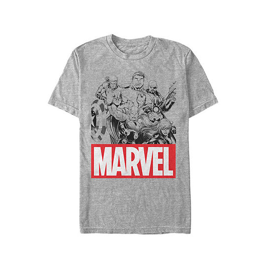 Marvel Logo Sketch Mens Crew Neck Short Sleeve Avengers Graphic T Shirt