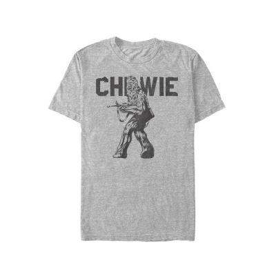 Mens Crew Neck Short Sleeve Chewbacca Graphic T-Shirt