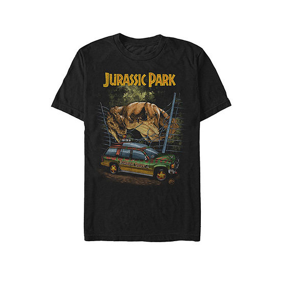 Jurassic Park T Rex Attach Mens Crew Neck Short Sleeve Graphic T Shirt