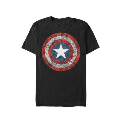 Mens Crew Neck Short Sleeve Captain America Graphic T-Shirt