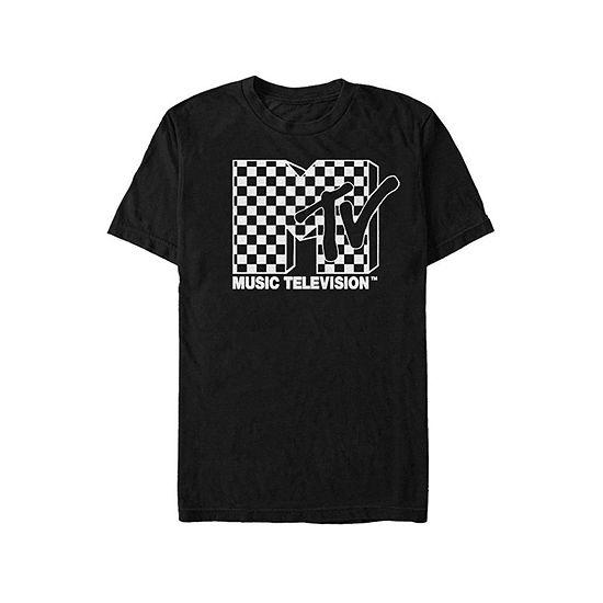 "Mtv Checkered Logo"" Mens Crew Neck Short Sleeve Graphic T-Shirt"