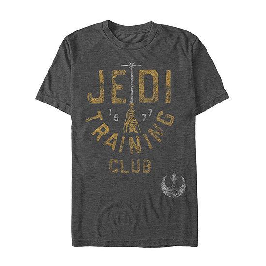"Jedi Training Club Distressed"" Mens Crew Neck Short Sleeve Star Wars Graphic T-Shirt"