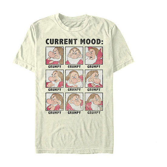 "Current Mood"" Mens Crew Neck Short Sleeve Seven Dwarfs Graphic T-Shirt"