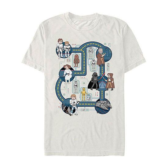 "Death Star Map"" Mens Crew Neck Short Sleeve Star Wars Graphic T-Shirt"