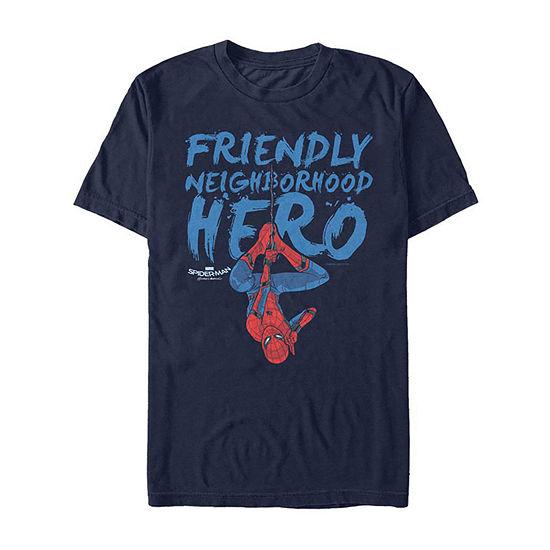 """Homecoming Friendly Neighborhood Hero"""" Mens Crew Neck Short Sleeve Spiderman Graphic T-Shirt"""