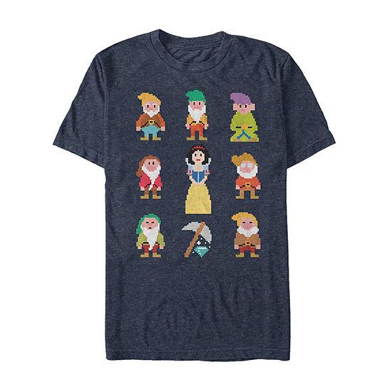 "Pixelated Characters"" Mens Crew Neck Short Sleeve Seven Dwarfs Graphic T-Shirt"