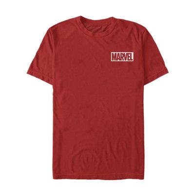 """Logo Left Chest"""" Mens Crew Neck Short Sleeve Marvel Graphic T-Shirt"""