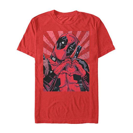 """Heart Hands"""" Mens Crew Neck Short Sleeve Deadpool Graphic T-Shirt"""