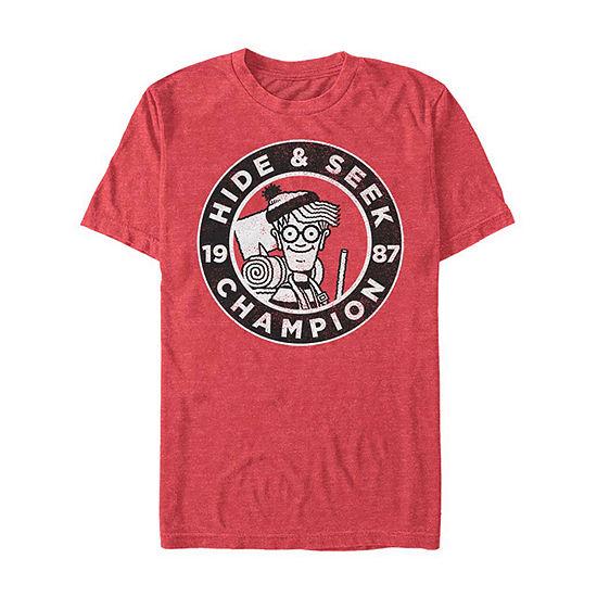 Where'S Waldo Hide And Seek Champion Mens Crew Neck Short Sleeve Graphic T-Shirt