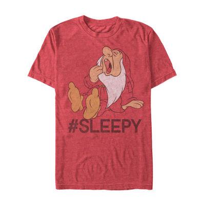 "#Sleepy"" Mens Crew Neck Short Sleeve Seven Dwarfs Graphic T-Shirt"