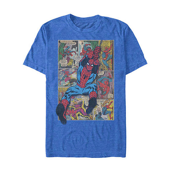 "Comic Action Pose					"" Mens Crew Neck Short Sleeve Spiderman Graphic T-Shirt"