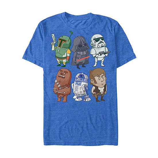Cartoon Group Shot Mens Crew Neck Short Sleeve Star Wars Graphic T Shirt