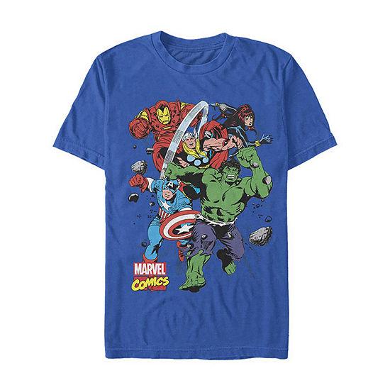 "Classic Comic Action Pose"" Mens Crew Neck Short Sleeve Avengers Graphic T-Shirt"