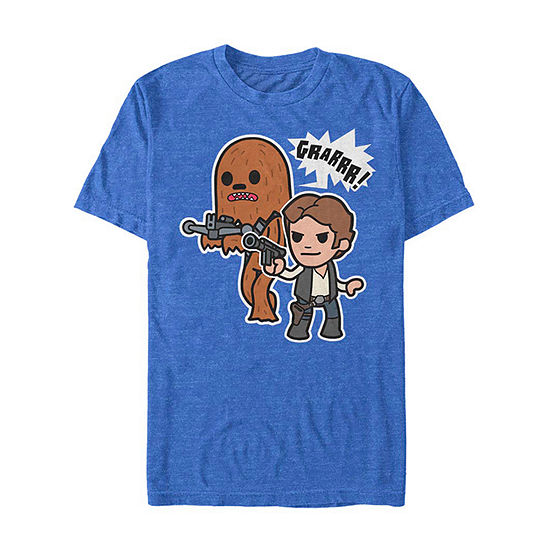 """Cartoon Chewie And Han Solo"""" Mens Crew Neck Short Sleeve Star Wars Graphic T-Shirt"""