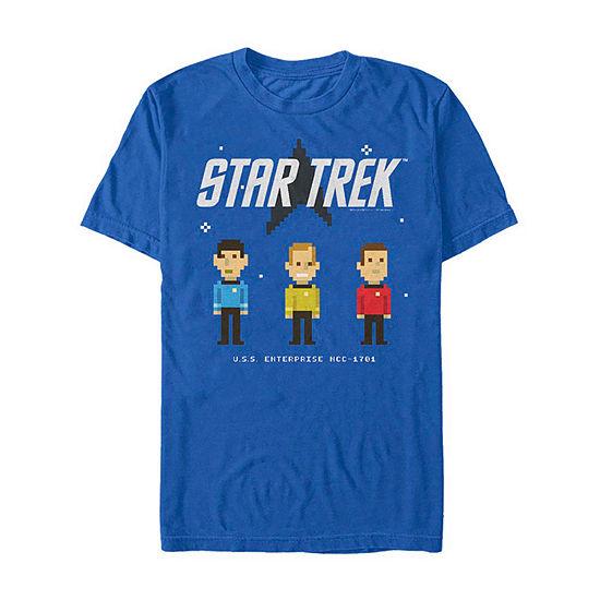 "Pixelated Characters"" Mens Crew Neck Short Sleeve Star Trek Graphic T-Shirt"