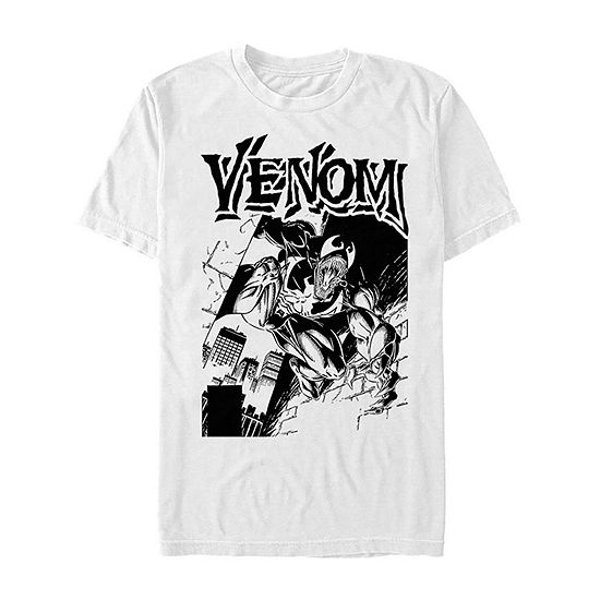 Venom Black And White Portrait Mens Crew Neck Short Sleeve Marvel Graphic T-Shirt