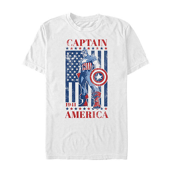 "American Flag					"" Mens Crew Neck Short Sleeve Captain America Graphic T-Shirt"