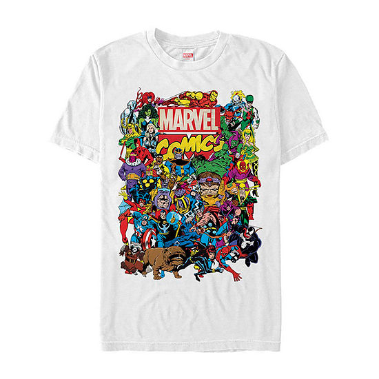 "Classic Comic Group Shot"" Mens Crew Neck Short Sleeve Avengers Graphic T-Shirt"