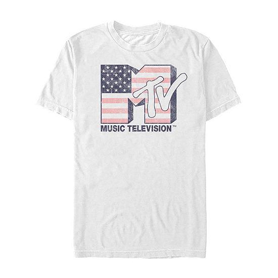 "Mtv Distressed American Flag Logo"" Mens Crew Neck Short Sleeve Graphic T-Shirt"