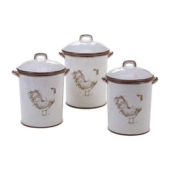 Certified International Toile Rooster 3-pc. Canister