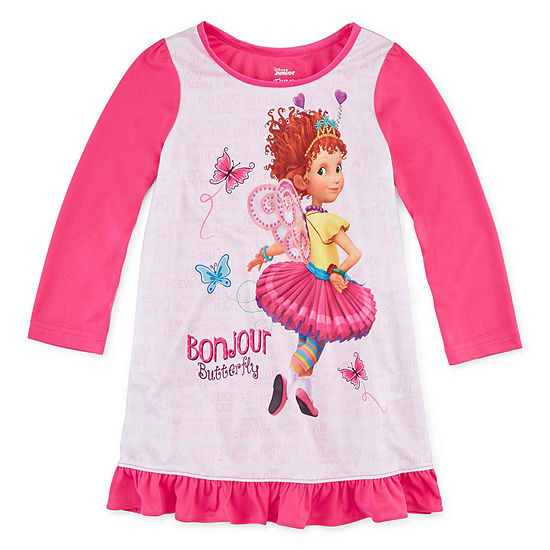 Girls Nightgown Fancy Nancy Long Sleeve Crew Neck