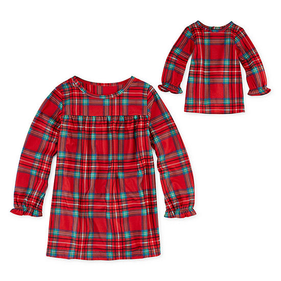North Pole Trading Co. Fa La Llama Family Toddler Girls Flannel Long Sleeve Round Neck Nightgown