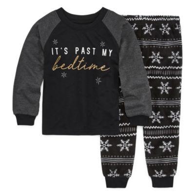 Holiday #Famjams Black Fairisle Foil Family Unisex 2-pc. Pant Pajama Set Toddler