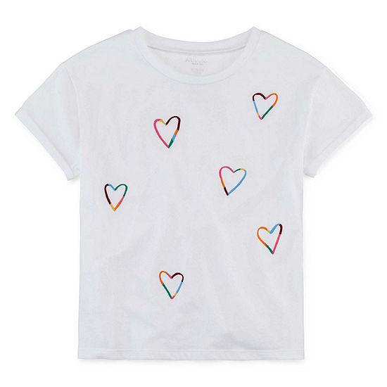 Arizona Girls Round Neck Short Sleeve Embroidered Graphic T-Shirt
