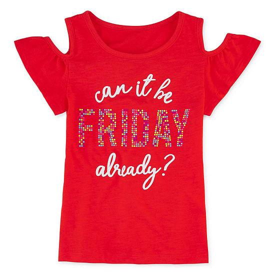 Arizona Girls Short Sleeve Glitter Graphic T-Shirt Preschool